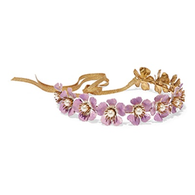 Faye Gold-Tone, Faux Pearl And Enamel Headband