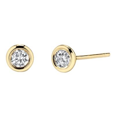 14K Gold & Bezel Diamond Stud Earrings