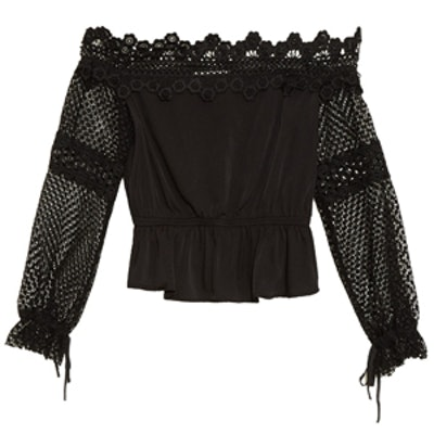 Off-Shoulder Lace-Trim Top