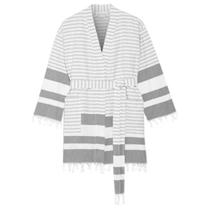 Tasseled Striped Cotton Robe