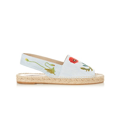 Ricio Poppy-Embroidered Denim Espasdrilles