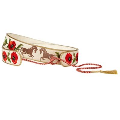 Embroidered Cotton-Canvas Waist Belt