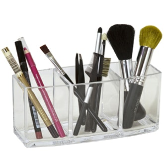 Three Clear Compartment Brush and Pencil Holder