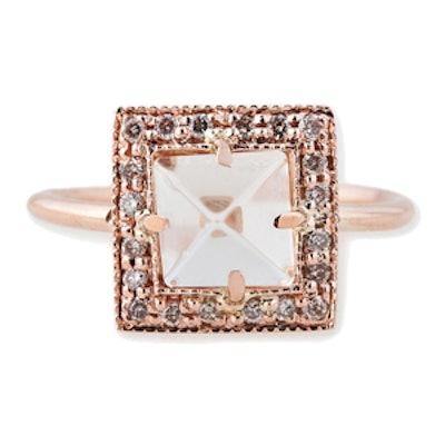 Gold, Quartz & Diamond Ring
