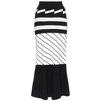 Mixed Stripe Trumpet Skirt