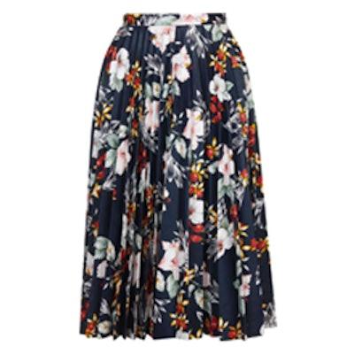 Floral Print PU Pleated Skirt