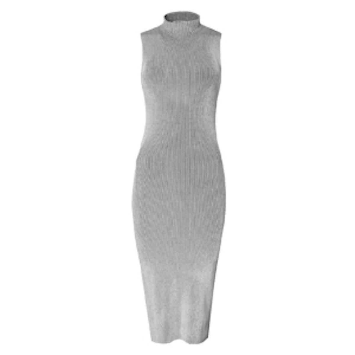 Sleeveless Ribbed Openback Dress