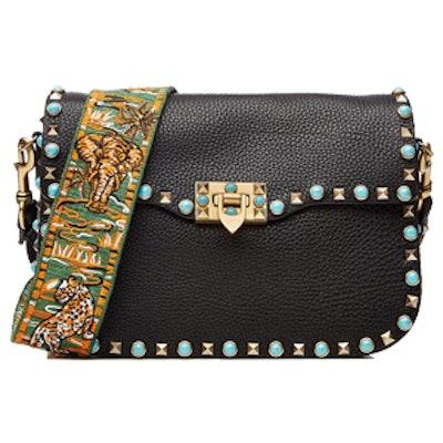 Rockstud Rolling Leather Shoulder Bag