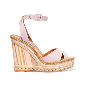 Leather and Striped Canvas Espadrille Sandals