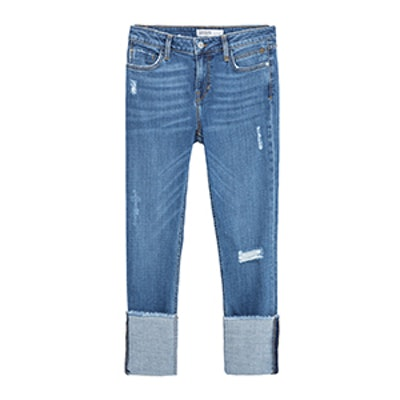 Straight Cut Mid Rise Cropped Jeans