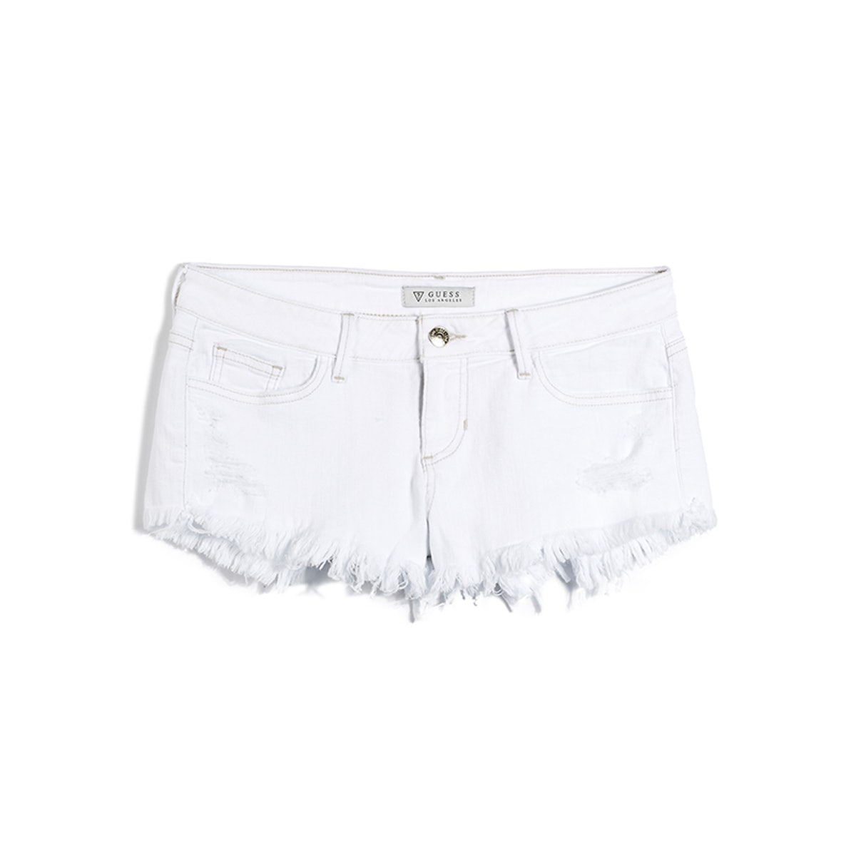 Kate Cutoff Denim Shorts In White Overdyed Destroyed Wash