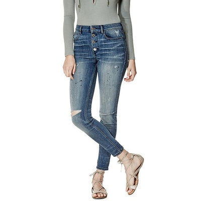 1981 High-Rise Button-Front Skinny Jeans In Tartan Wash