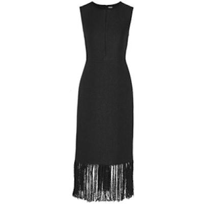 Fringed Linen And Cotten-Blend Tweed Dress