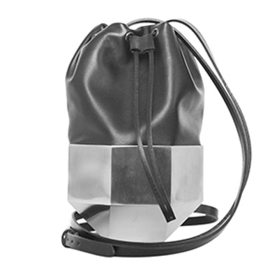Persephoni Leather Steel Drawstring Bag