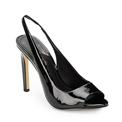Carley Faux Patent Sling-Back Peep-Toe Pumps