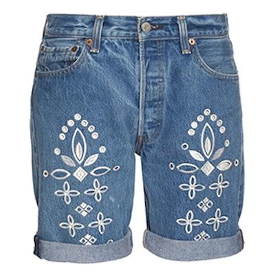 Shadow Flower Embroidered Denim Shorts