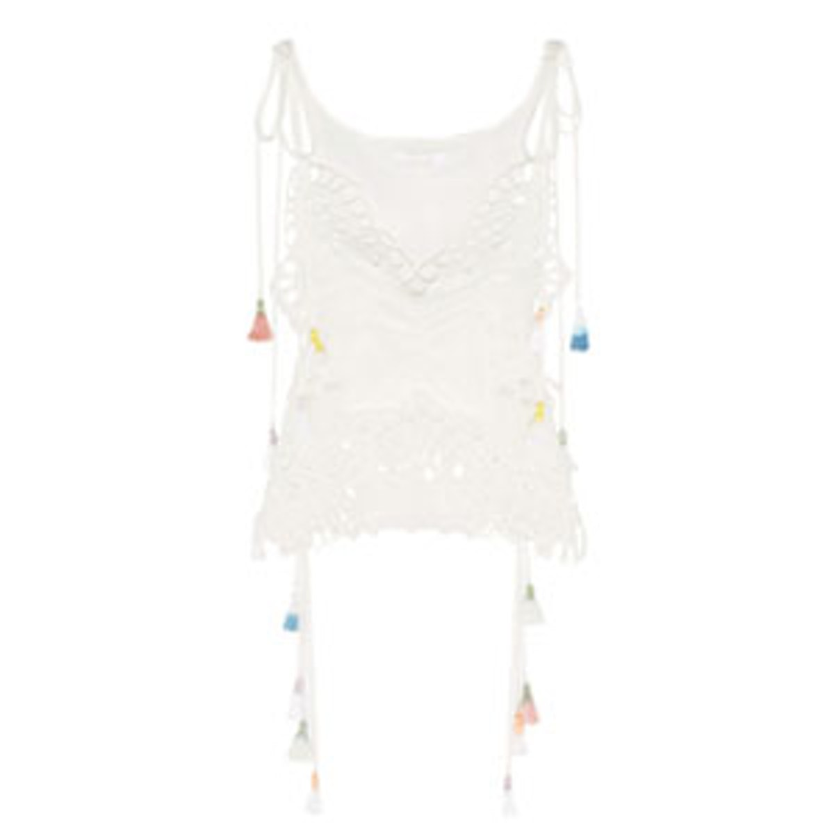 Tasseled Broderie Anglaise And Tulle Paneled Linen Blend Camisole