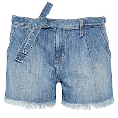 The Pleated Cut-Off Denim Shorts