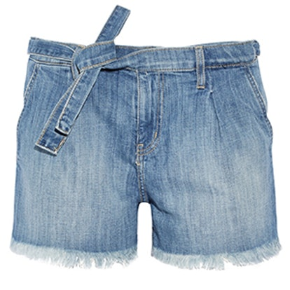 The Pleated Cut-Off Denim Shorts