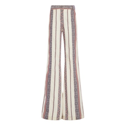 Cotton Linen Patterned Flared Pants