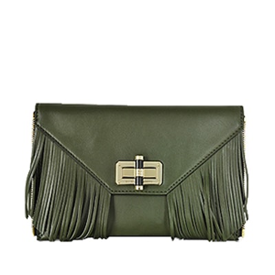 Agent Riley Fringe Zip On Leather Clutch