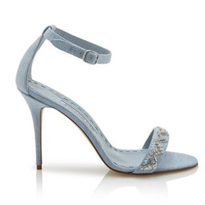 Denim & Sequins Strappy Heels