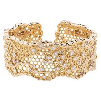 Dentelle 18K Yellow Gold Diamond Cuff Bracelet