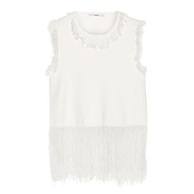 Fringed Stretch Knit Top