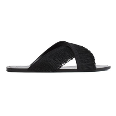 Fringed Cross Strap Sandals