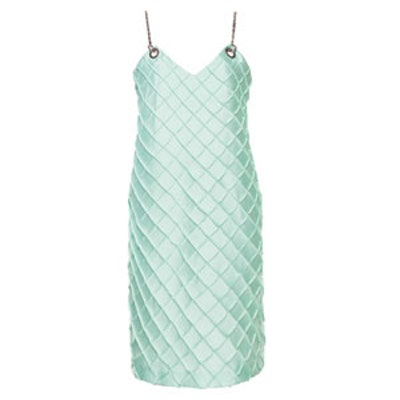 Green Quilted Chain Cami Dress