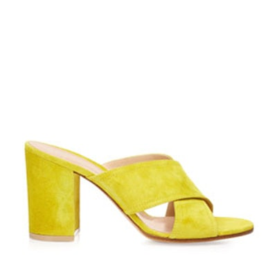 Crossover Strap Suede Mules
