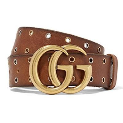 Eyelet-Embellished Embossed Leather Waist Belt