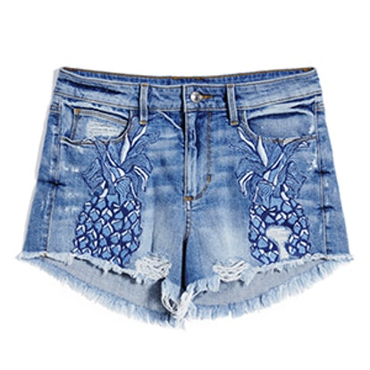 1981 High-Rise Pineapple Denim Shorts