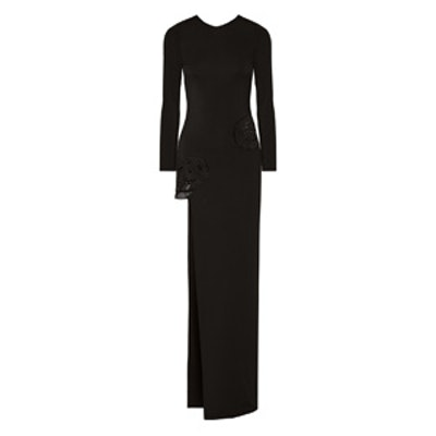 Asymmetric Embroidered Stretch-Crepe Gown