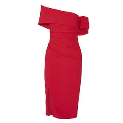 Off-The-Shoulder Ruched Stretch-Crepe Dress
