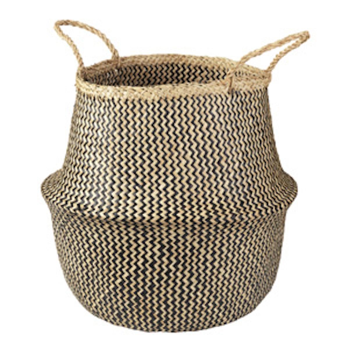 Basket in Seagrass/Black