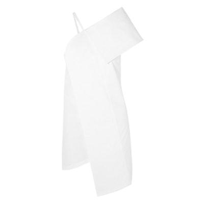 Asymmetric Stretch-Cotton Poplin Mini Dress