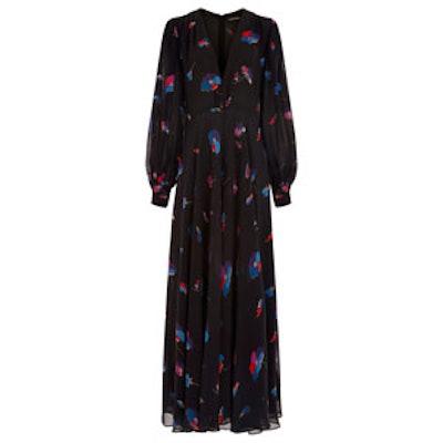 Black Floral Silk Zuzanna Jumpsuit