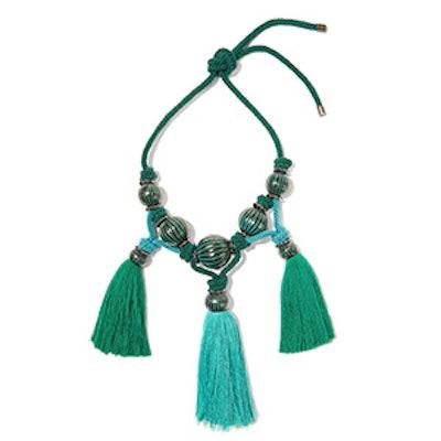 Enameled Brass Tassel Necklace