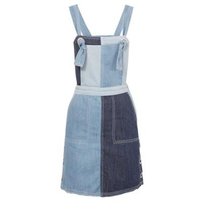 Denim Patchwork Overall Dress