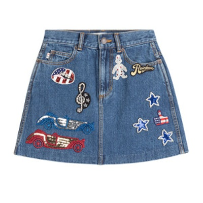 Denim Skirt With Embellished Patches