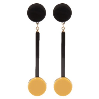 Gold-Plated Acrylic Clip Earrings