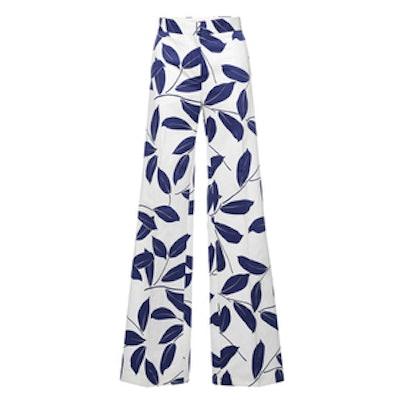 Electric Blue Printed Leaf Trouser