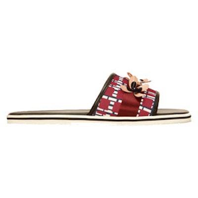 Bordeaux Embellished Slide Sandals With Check Pattern