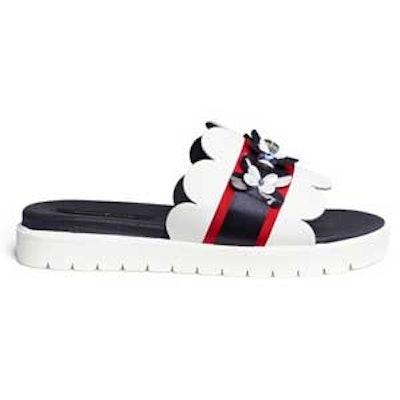 Embellishment Leather Slide Sandals