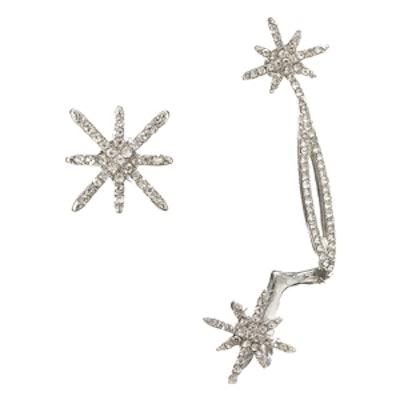 Asymmetric Rhinestone Crystal Snowflake Star Ear Cuff