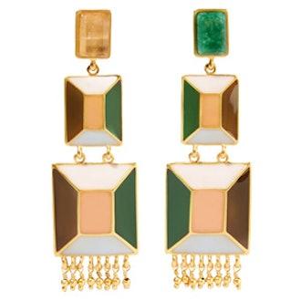 Hexagon Enamel And Emerald Earrings