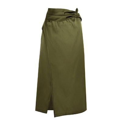 Wrap Effect Satin Skirt
