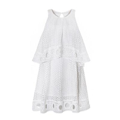 White Ring Hem Eyelet Dress