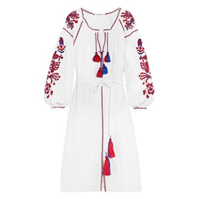 Poppy Embroidered Linen Dress